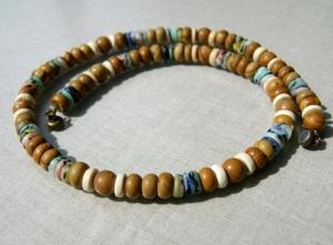 Männer Kette HOLZJASPIS mit afrikanischen Perlen