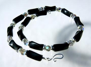 Kette DEZENT VERDREHT Onyx schwarz silber Collier Kristall 925er Silber elegant vitrail