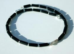 Kette ACHAT und SILBER - schlicht und edel schwarz schmal elegant Steinschmuck - Handarbeit kaufen