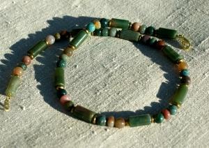 Männer Halskette INDIAN ACHAT mehrfarbig Edelstahl Edelsteinschmuck grün braun - Handarbeit kaufen