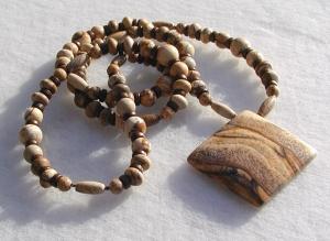 Kette mit Anhänger - Landschafts Jaspis Quadrat Halskette lang Steinschmuck Unikat