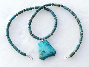 Kette mit Anhänger - Sediment Jaspis türkis Steinschmuck Unikat lang Halskette