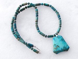Kette mit Anhänger - Sediment Jaspis türkis Edelsteinschmuck Unikat lang Halskette - Handarbeit kaufen