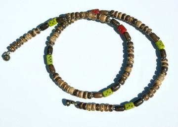 Männer Kette KOKOS + Perlen aus AFRIKA schmal leicht ethno Holz Hämatit dezent