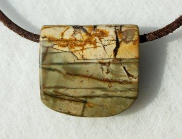 Anhänger UFER Picasso-Jaspis Lederband Unikat Steinschmuck schlicht