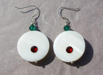 Ohrhänger große SCHEIBEN Perlmutt Kristall 925er Silber weiß rot grün extravagant ausgefallen - Handarbeit kaufen