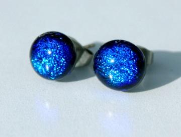 Ohrstecker MINI DOTS royalblau dichroitisches Glas Edelstahl klein Glanz leuchtend intensiv blau