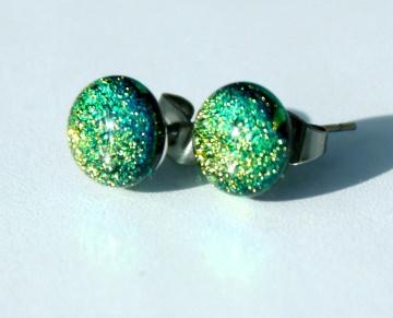 Ohrstecker MINI DOTS gelbgrün dichroitisches Glas Edelstahl klein Glanz leuchtend intensiv grün