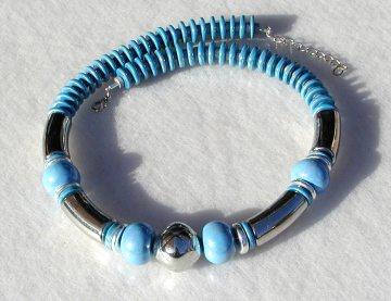 Collier HIMMEL Keramik hellblau silber Design art deko ausgefallen extravagant opulent leicht  - Handarbeit kaufen