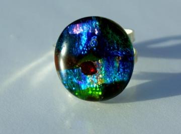Ring MOSAIK dichroitisches Glas 925er Silber bunt Unikat extravagant Geschenk