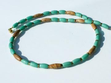 zarte Halskette OLIVEN grün braun gold Handelsperlen Afrika Holz-Jaspis Hämatit schmal zierlich dezent