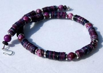 Halskette BEEREN Jaspis lila violett Keramik silber Steinschmuck Unikat schlicht elegant
