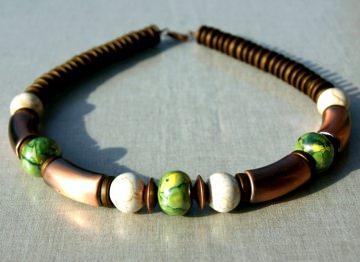 Halskette KUPFER Keramik grün braun Glanz opulent extravagant leicht  ethno