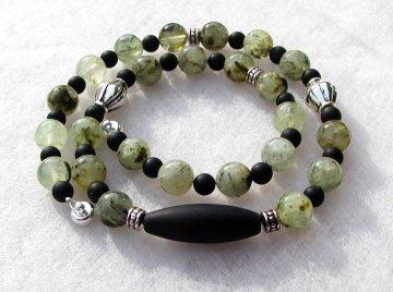 Halskette PREHNIT - Turmalin Onyx grün transparent schwarz Steinschmuck Unikat elegant schlicht versilbert