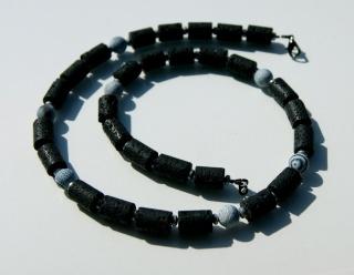 Männerkette LAVA + ACHAT Hämatit schwarz grau dezent eigenwillig schlicht