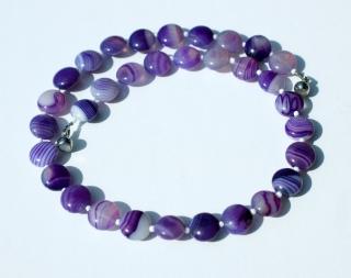 Halskette LILA LINSEN gebänderter Achat flieder violett schlicht elegant Unikat