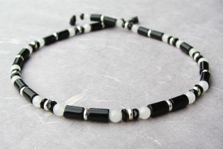 Halskette DIE KLASSISCHE  schwarz weiß silber Onyx  Schneequarz versilbert schlicht elegant