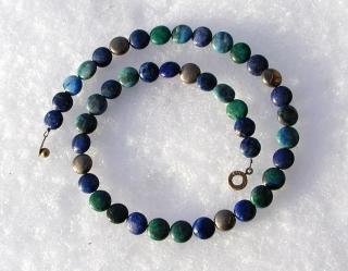 Halskette DEZENT Lapis Chrysokoll Pyrit Linsen dunkelblau blaugrün Katzengold elegant schlicht