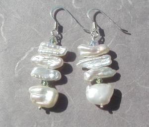 Ohrhänger weiß Biwa- Perlen 925er Silber elegant festlich edel  - Handarbeit kaufen