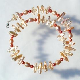 Collier LACHS ROSA  Biwa- Perlen 925er Silber elegant festlich edel  - Handarbeit kaufen
