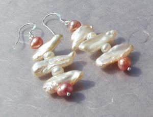 edle Ohrhänger * Biwa- und Zuchtperlen *  925er Silber elegant festlich edel   - Handarbeit kaufen