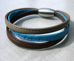 Armband 3fach  Nappa-Leder Edelstahl taupe türkis braun  - Handarbeit kaufen