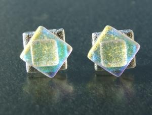 Ohrstecker Steps WEISS-ZITRONE dichroitisches Glas  925er Silber