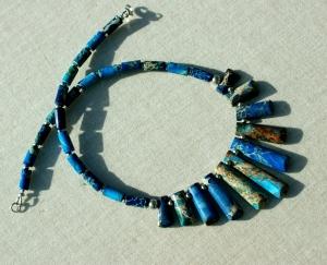 elegantes Collier CLEOPATRA Sediment-Jaspis blau Edelstahl Unikat Dekolleté extravagant