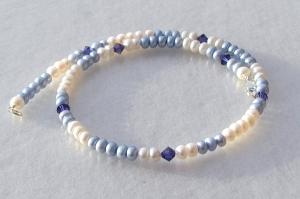 Halskette BLAU-WEISS Zuchtperlen Silber elegant - Handarbeit kaufen