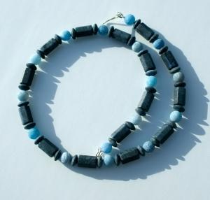 Halskette DUMORTIERIT mit ACHAT 925er Silber  Edelsteinschmuck elegant - Handarbeit kaufen