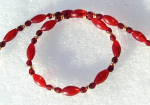 Halskette LUFTIG ROT mundgeblasenes Glas Granat zierlich elegant - Handarbeit kaufen