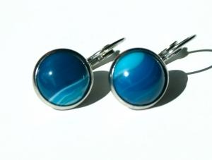 Ohrhänger ACHAT dunkelblau gebändert Cabochon Edelstahl elegant  - Handarbeit kaufen