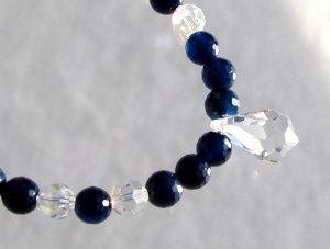 Halskette BLAU-GLITZER Achat dunkelblau Swarovskisteine elegant festlich  - Handarbeit kaufen