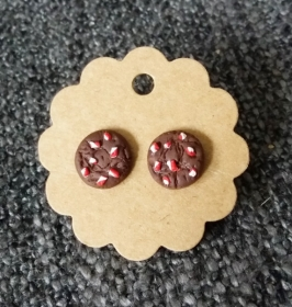 Ohrstecker Cookies mit Zuckerstangen aus Fimo