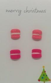 Ohrstecker-Set mit kleinen Macarons rosa/pink