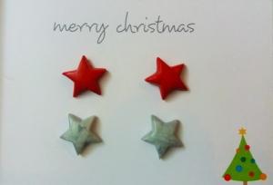 Ohrstecker-Set mit kleinen Sternen rot/silber