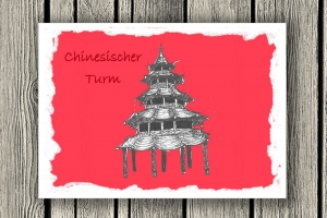 """Handgezeichnete Klappkarte mit Münchenmotiv  """"Chinesischer Turm"""