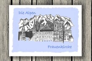 """Handgezeichnete Klappkarte mit Münchenmotiv  """"Die Alpen"""