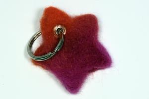 Schlüsselanhänger aus Filz, ♥ Stern in Rottönen