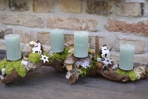 Moneria-Adventskranz-Adventsgesteck-Rebholz-Wurzelgesteck-leuchtet auch ohne angezündete Kerze-Jade-