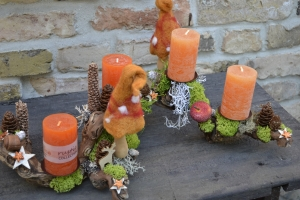 Moneria-Adventskranz-Adventsgesteck-Rebholz-Wurzelgesteck- Feuerwerk der Farben-