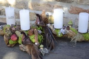Moneria-Adventskranz-Adventsgesteck-Rebholz-Wurzelgesteck- Paradiesvögel-