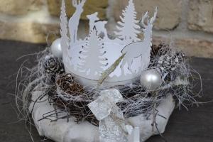 Moneria-Adventskranz-weisse Weihnacht- - Handarbeit kaufen