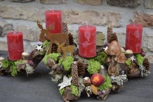 Adventskranz- Adventsgesteck- natürlich-Holz-Wurzel-Rebwurzel-Wurzelgesteck...schwedischer Wald- 1-