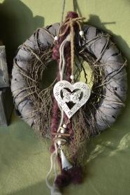 Moneria-Türkranz-Wandkranz -Herzgirlande