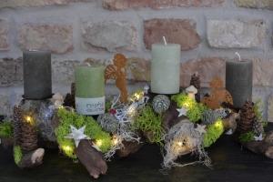 Moneria-Adventskranz-Wurzelgesteck-leuchtet auch ohne angezündete Kerze-Engelskinder-
