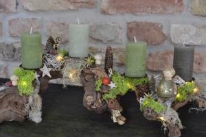 Adventskranz-Wurzelgesteck-leuchtet auch ohne angezündete Kerze-Berggeflüster-