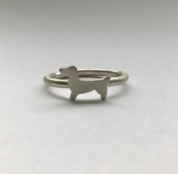 Stapelring Hund Goldschmiedearbeit Silberdackel