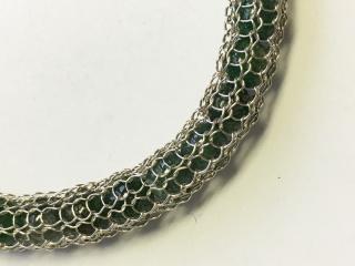 Armband Strickkette Aventurin Goldschmiedearbeit