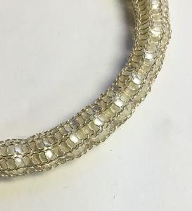 Armband Strickkette Süßwasserperle Goldschmiedearbeit
